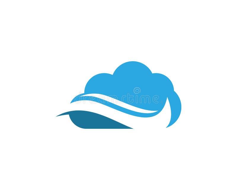 Falowej chmury ikony loga wektoru szablon ilustracji