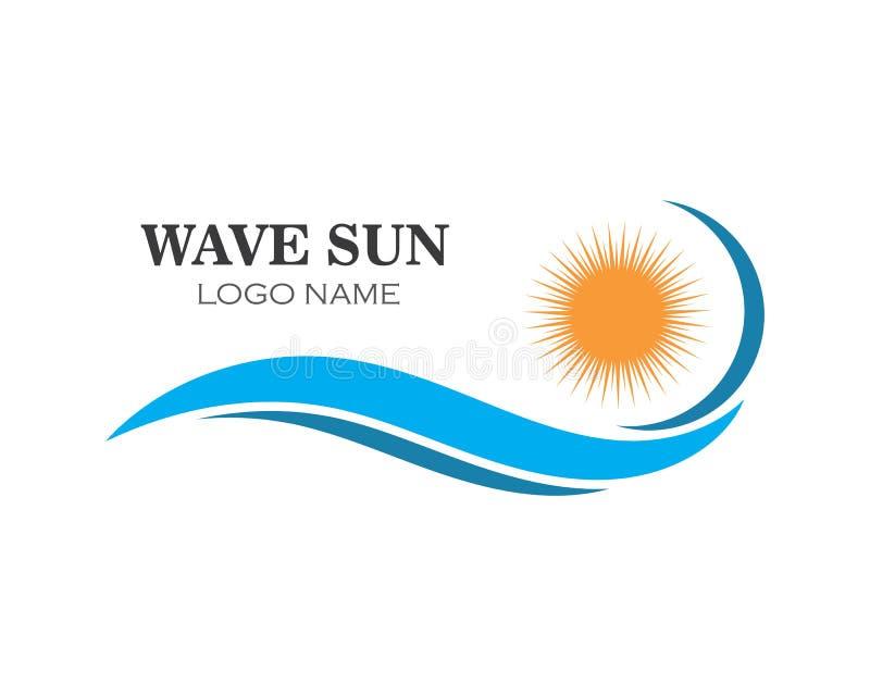 falowej słońce logo ikony wektorowy ilustracyjny projekt royalty ilustracja