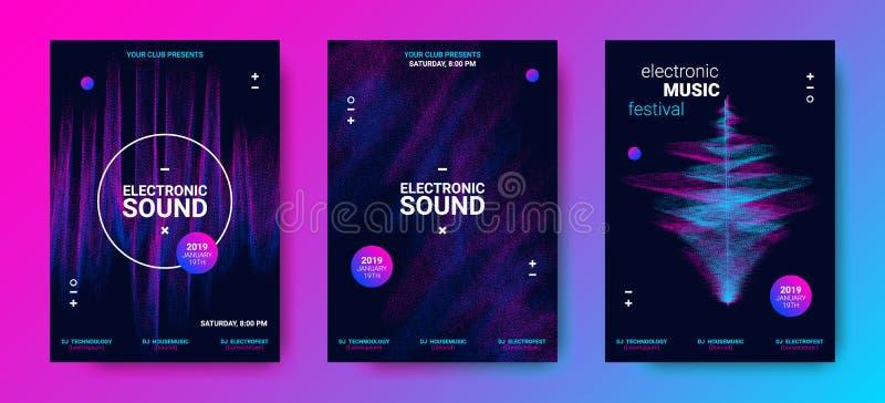 Falowi Muzyczni plakaty Ustawiający ilustracji