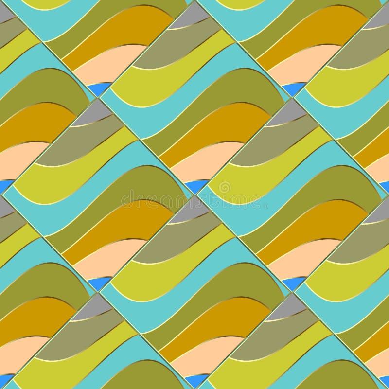 Falowy kolorowy abstrakcjonistyczny wektorowy bezszwowy wzór Geometryczny elegan royalty ilustracja