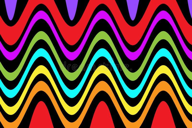 Falowy kreskowy multicolor abstrakcjonistyczny tło royalty ilustracja