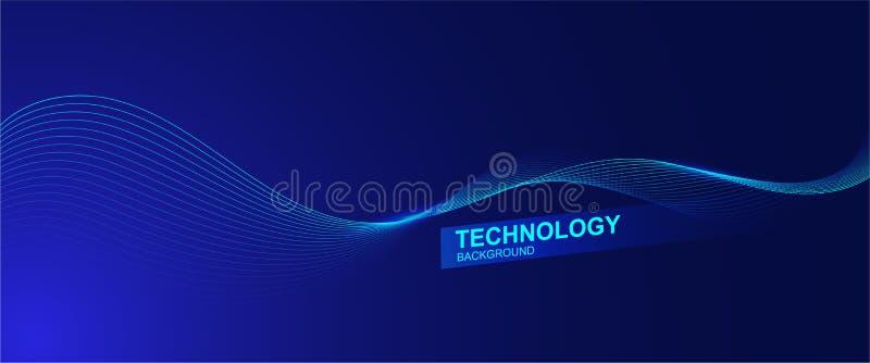 Falowy kreskowy tło z gładkim kształtem Piękna falowanie linia w błękitnym tło kolorze Horyzontalny sztandaru szablon royalty ilustracja