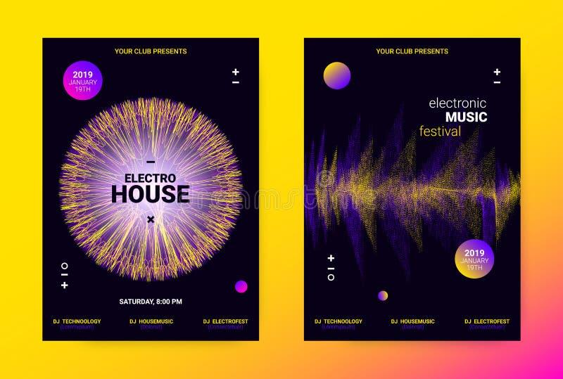 Falowy Muzyczny Plakatowy pojęcie Elektroniczna Rozsądna ulotka ilustracji