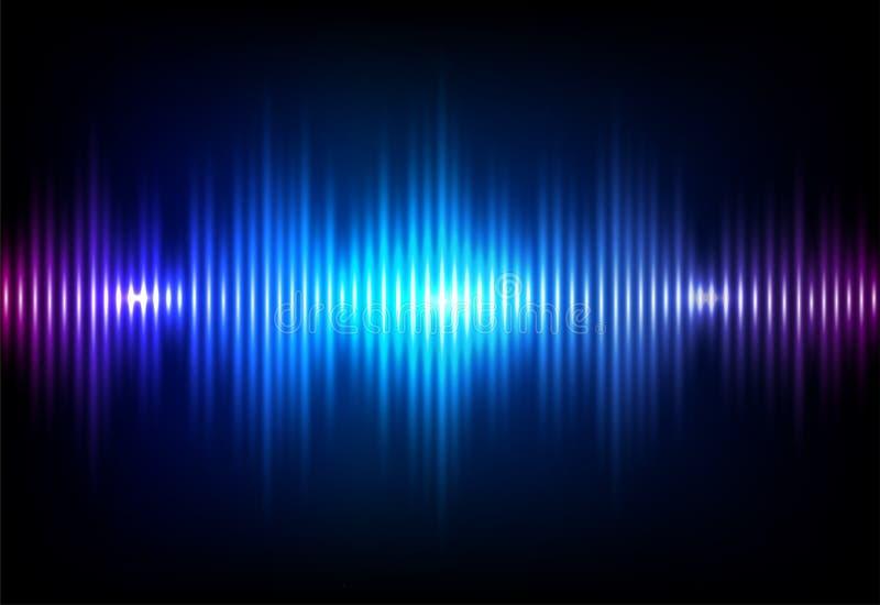 Falowy rozsądny neonowy wektorowy tło Muzyki soundwave spływowy projekt, lekcy jaskrawi błękitni elementy odizolowywający na ciem ilustracja wektor