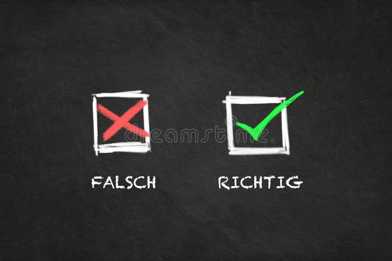 `Falsch - Richtig` with icons in a blackboard. Translation: `Wrong - Correct` royalty free illustration