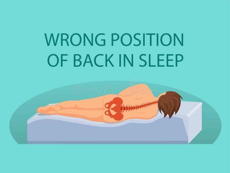 Falsche Position der Rückseite im Schlaf Vektor stock abbildung