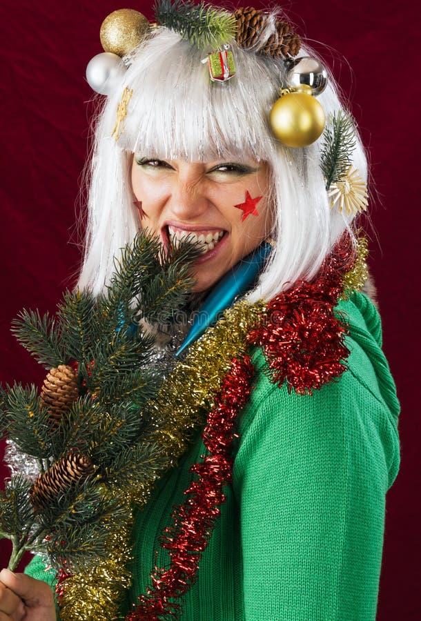 Falsche Weihnachtsfrau lizenzfreies stockbild