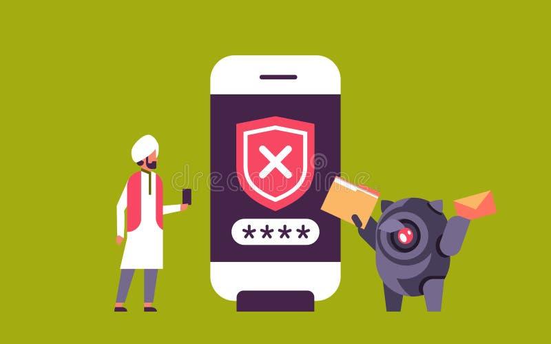 Falsches Passwort des indischen Mannes, das Sicherheits-APP-Zugangs der Botkonzept Smartphoneüberprüfung horizontale Ebene bewegl lizenzfreie abbildung