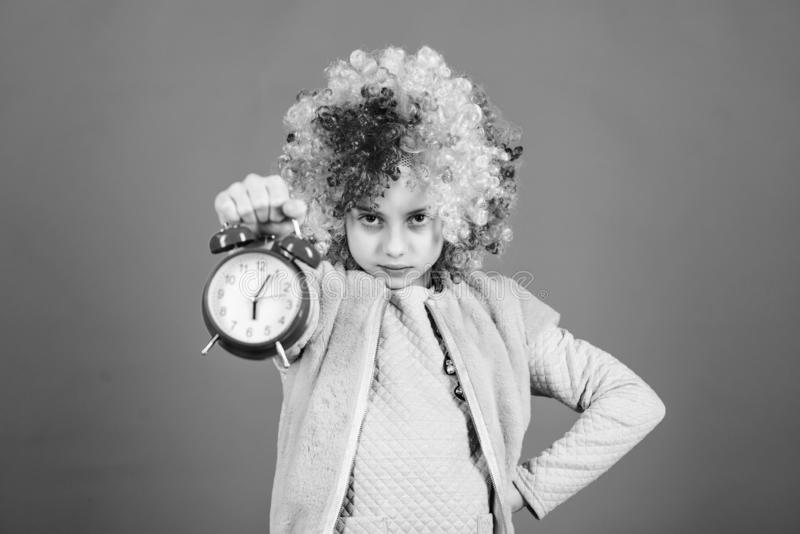 False alarm. Girl worry about time. Time to have fun. Discipline and time concept. Circus performance timing. Kid royalty free stock photography