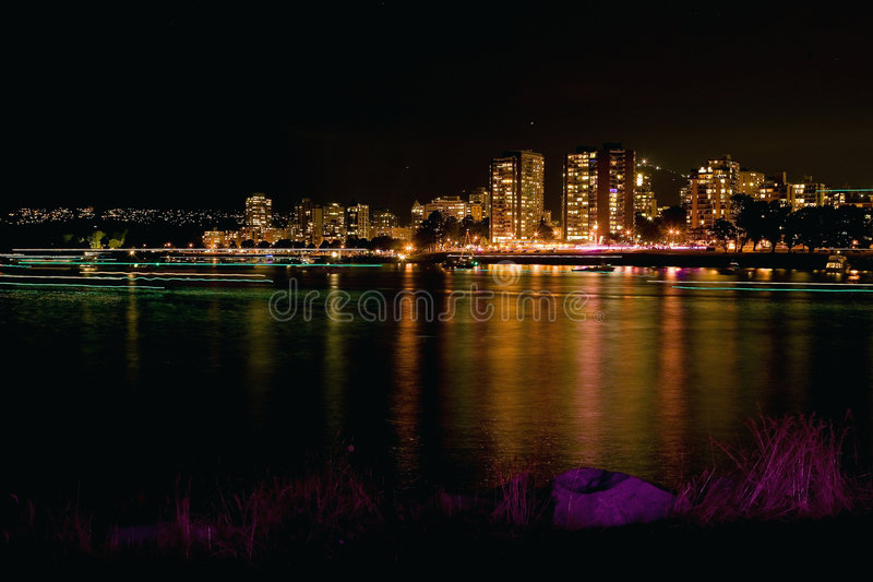 False Creek Vancouver At Night Stock Images