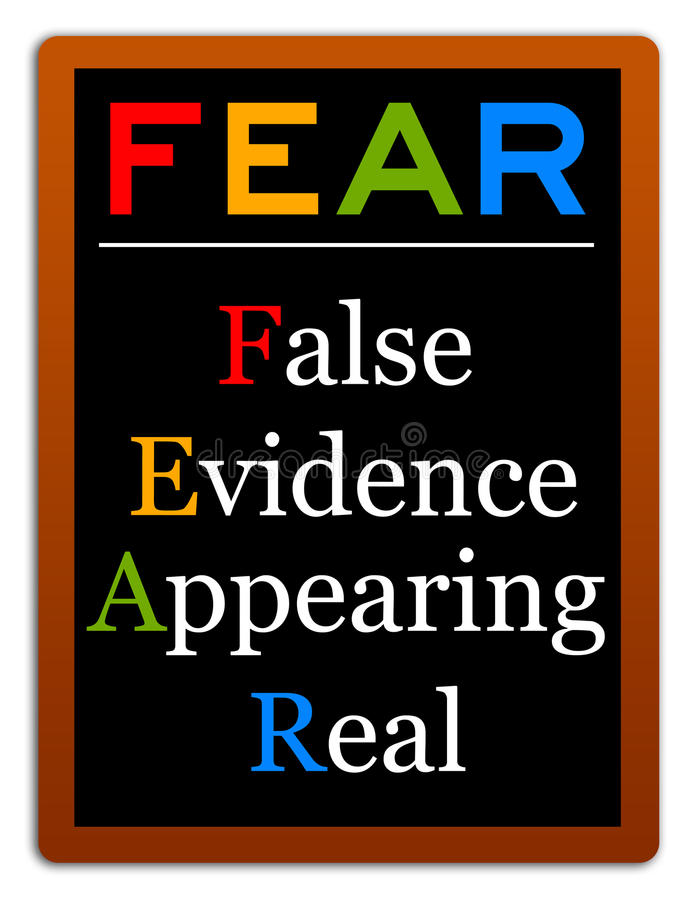 False evidence. Fear defined as false evidence appearing real royalty free illustration