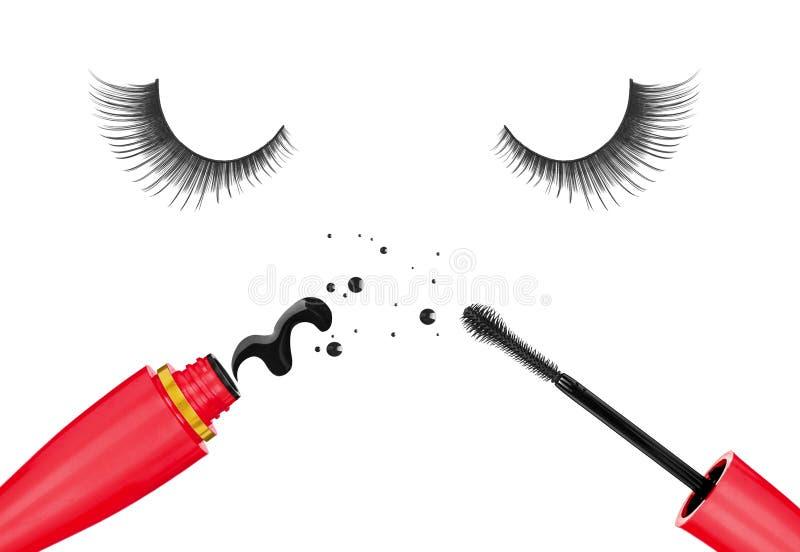 False eyelashes and mascara royalty free illustration