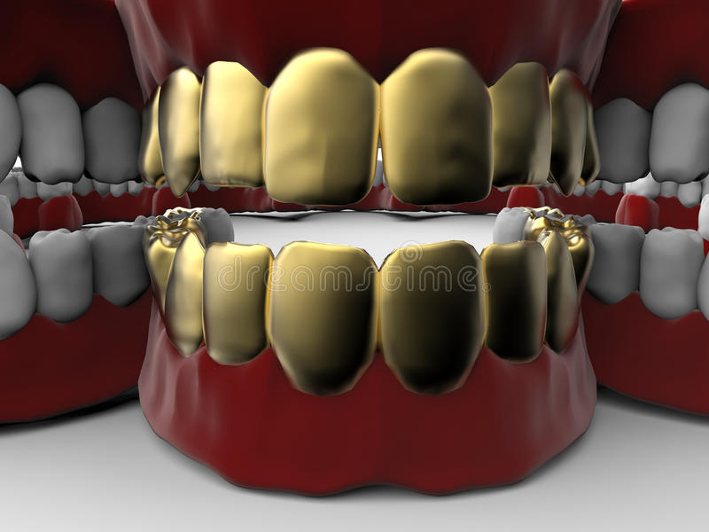 False golden teeth stock illustration