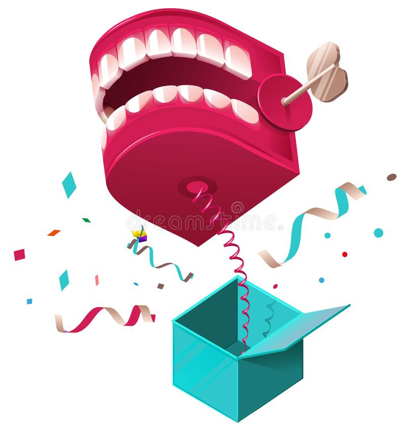 False jaw surprise for April 1 fools day. Raffle prank jumps out of box on spring royalty free illustration