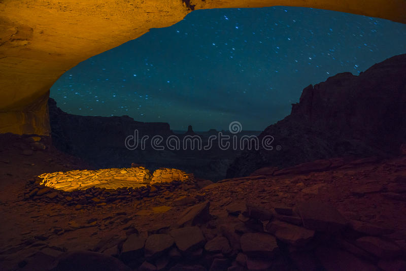 False Kiva at Night with starry sky stock image