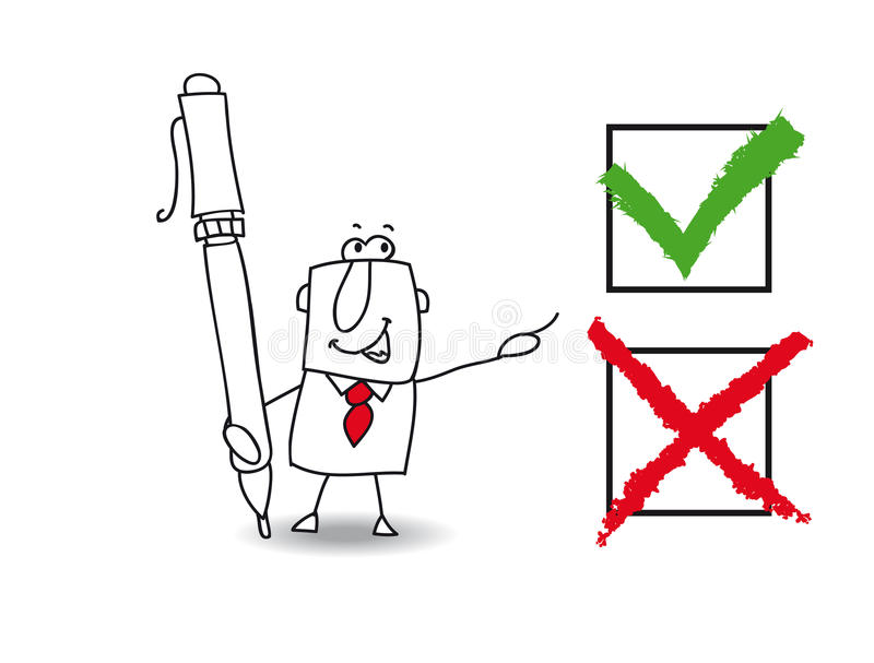 False or true mister. Joe, the business man checked a list with a pen. True or false that the question vector illustration