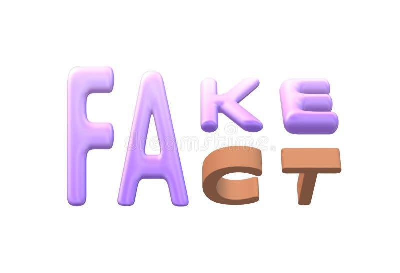 Falsificación o palabras de los hechos contra un contexto blanco ilustración del vector