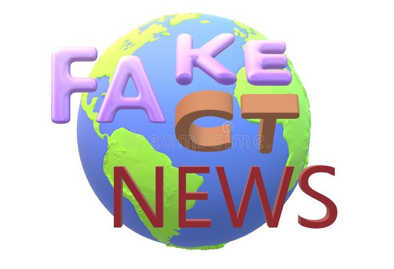 Falsificazione o parole di fatti con un globo del mondo come il contesto illustrazione di stock