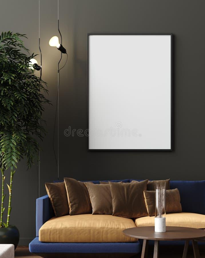 Falsk övre affisch i den lyxiga moderna vardagsruminre som är mörk - grön brun vägg, modern soffa och växter stock illustrationer