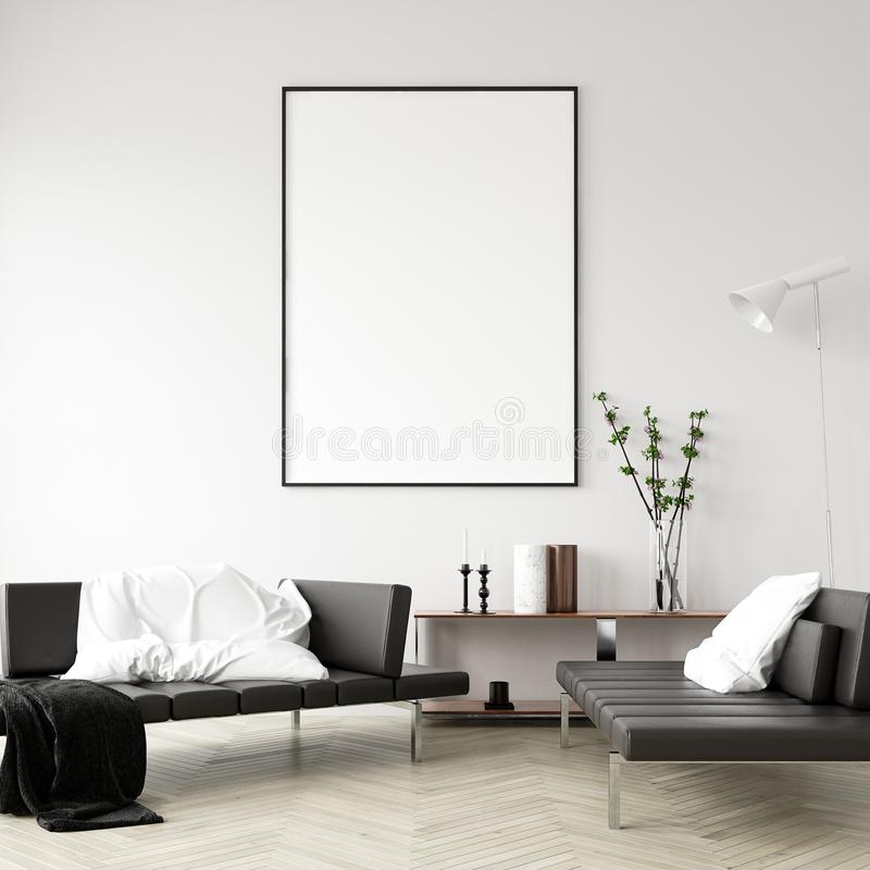Falsk övre affischram i hemmiljöbakgrund, modern stilvardagsrum fotografering för bildbyråer