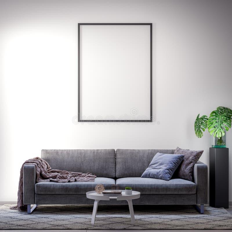 Falsk övre affischram i inre modern stil med soffan, illustration 3D vektor illustrationer