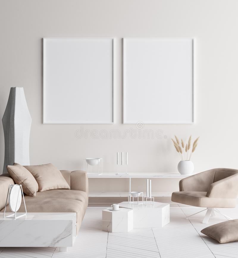 Falsk övre affischram i modern hemmiljö Skandinavisk stil arkivfoto