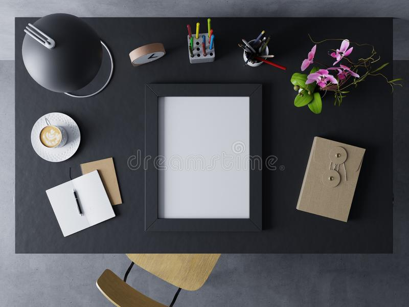 falsk övre designmall som ställer ut design av den tomma affischen i modern workspace i den horisontalsvarta ramen som vilar på e royaltyfri illustrationer