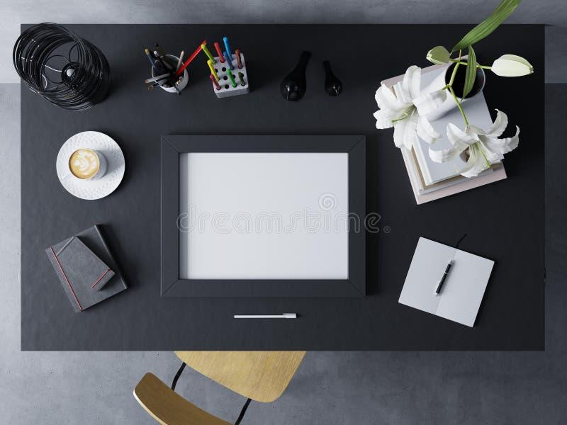 Falsk övre designmall som ställer ut konstverk av den tomma affischen i modern workspace i horisontalramen som vilar på en svart  stock illustrationer