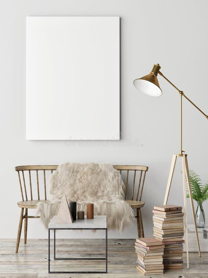 Falsk affisch i skandinavisk vardagsrum, arkivfoton