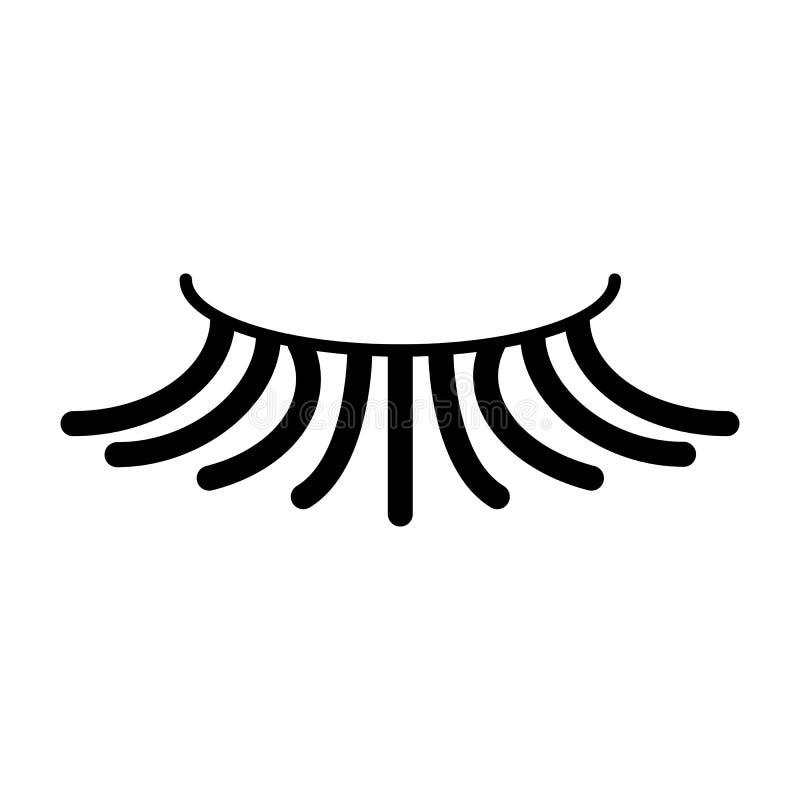 Falsk enkel ögonfransvektorsymbol Svart ögonfransillustration på vit bakgrund Fast linjär skönhetsymbol stock illustrationer