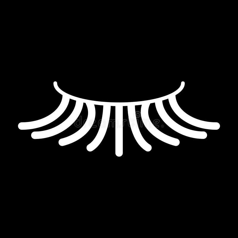 Falsk enkel ögonfransvektorsymbol Vit ögonfransillustration på svart bakgrund Fast linjär skönhetsymbol vektor illustrationer