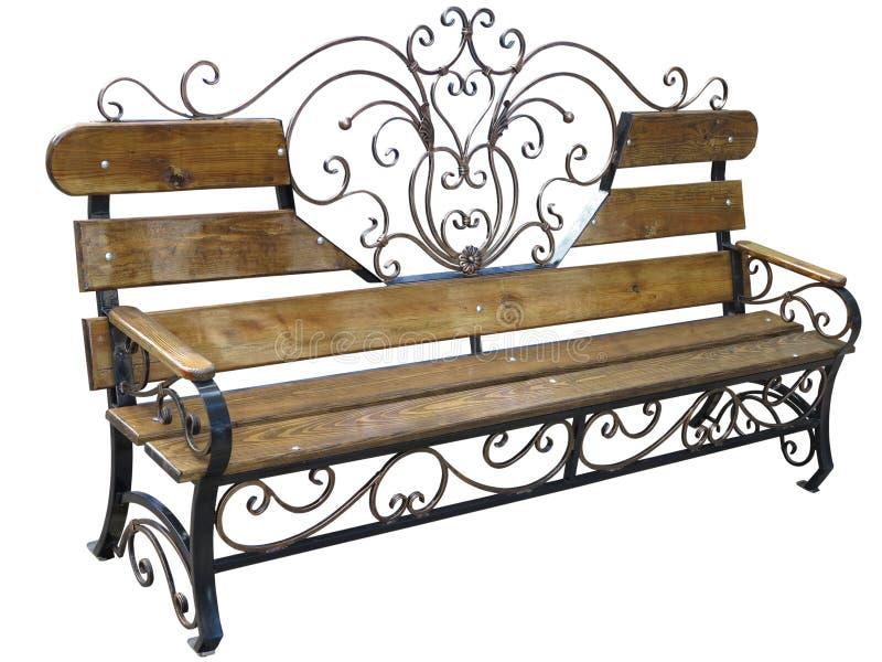 Falsk metallisk och wood bänk som isoleras på vit royaltyfri foto