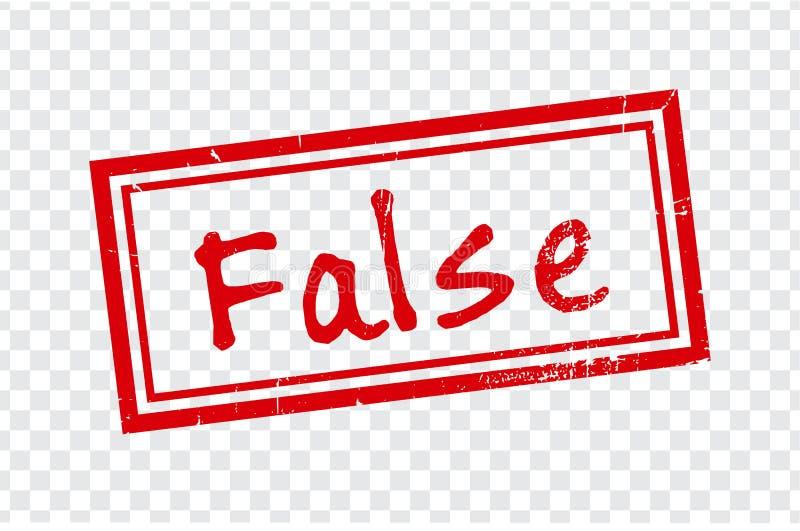 Falsk stämpeldesign på genomskinlig bakgrund Rubber stämpel för Grunge med ordet som är falskt i rött stock illustrationer