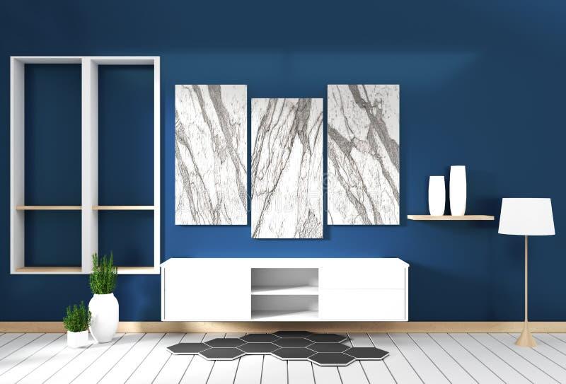 Falsk upp kabinett design, modern vardagsrum med mörkt - blå vägg på det vita trägolvet framf?rande 3d vektor illustrationer