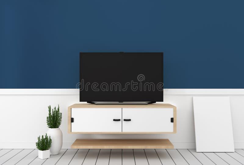Falsk uSmarttv med den tomma svarta skärmen som hänger på den kabineda designen, modern vardagsrum med mörkt - blå vägg på det vi royaltyfri illustrationer