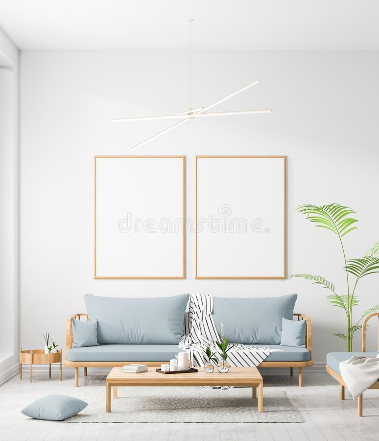 Falsk ?vre affischram i scandinavian stilinre Minimalist inredesign illustration 3d stock illustrationer