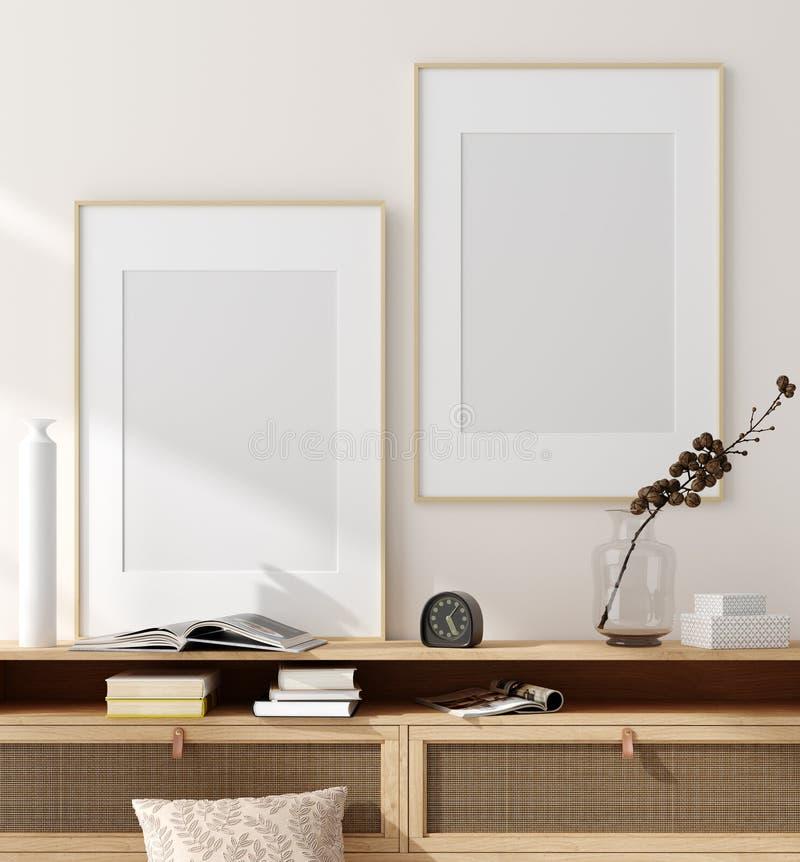Falsk ?vre ram i hemmilj?bakgrund, beige rum med naturligt tr?m?blemang, skandinavisk stil royaltyfri foto
