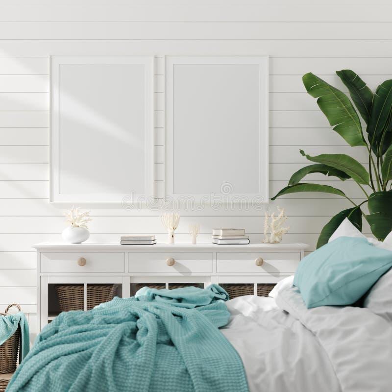 Falsk ?vre ram i sovruminre, marin- rum med havsdekoren och m?blemang, kust- stil royaltyfri illustrationer