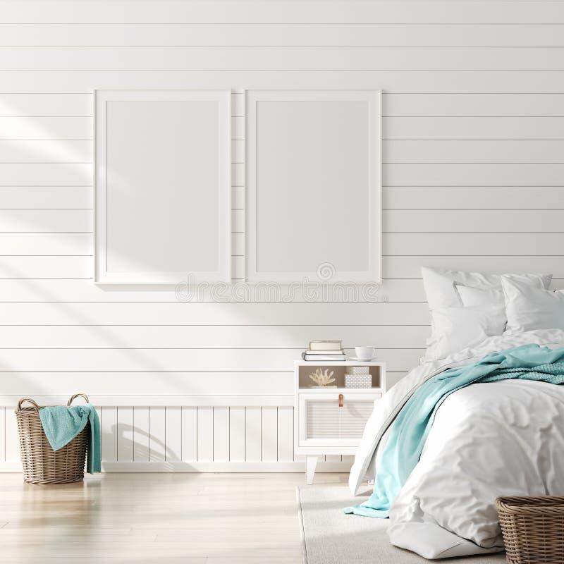 Falsk ?vre ram i sovruminre, marin- rum med havsdekoren och m?blemang, kust- stil royaltyfria bilder