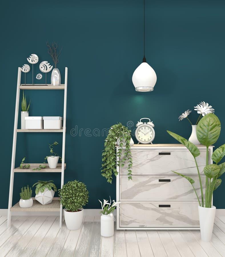 Falskt övre granitkabinett i modern vardagsrum med växten på mörkt - blå väggbakgrund, tolkning 3d royaltyfri illustrationer