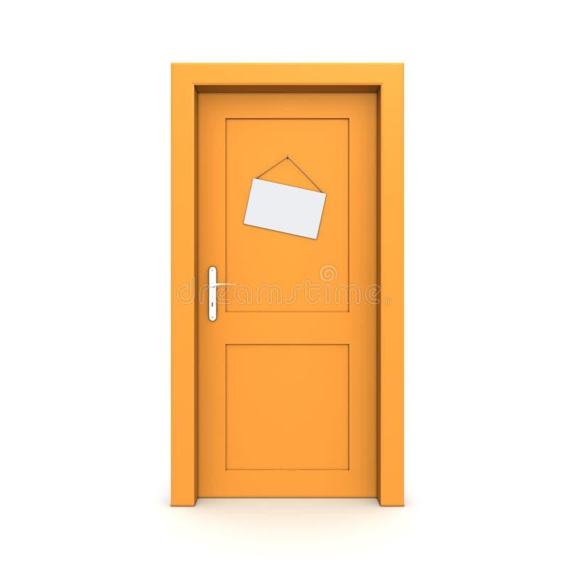 falskt orange tecken för stängd dörr royaltyfri illustrationer