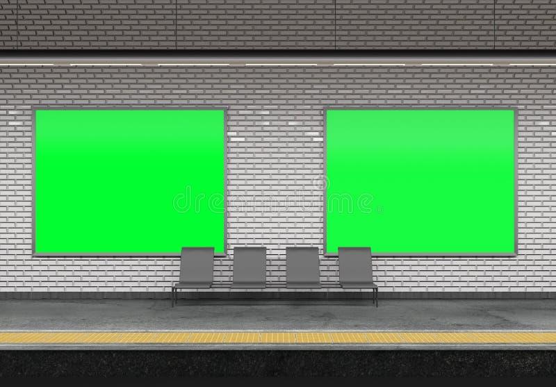 Falso para arriba de un anuncio de la cartelera del subterráneo - representación 3d libre illustration