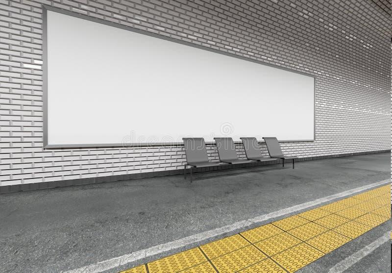 Falso para arriba de un anuncio de la cartelera del subterráneo - representación 3d stock de ilustración