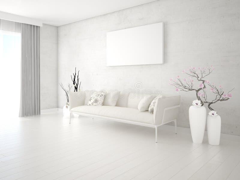 Falso para arriba en una sala de estar elegante con un sofá clásico ligero stock de ilustración