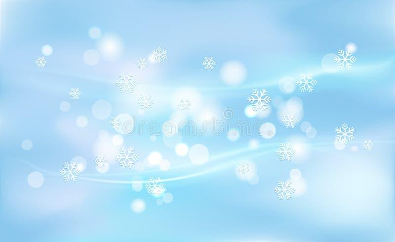 Falta de definición caótica para la Navidad, Años Nuevos, bokeh de copos de nieve ligeros en azul del fondo Ejemplo del vector pa stock de ilustración