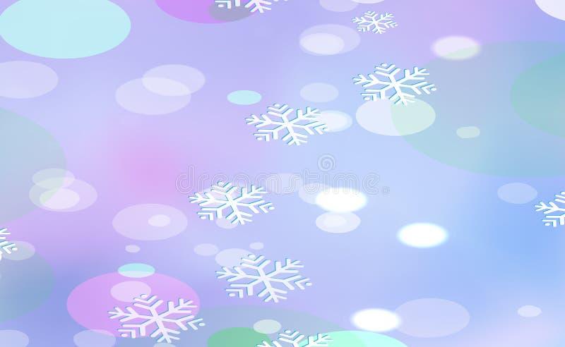 Falta de definición caótica por Años Nuevos, bokeh de la Navidad de copos de nieve ligeros en violeta del fondo Ejemplo del vecto libre illustration
