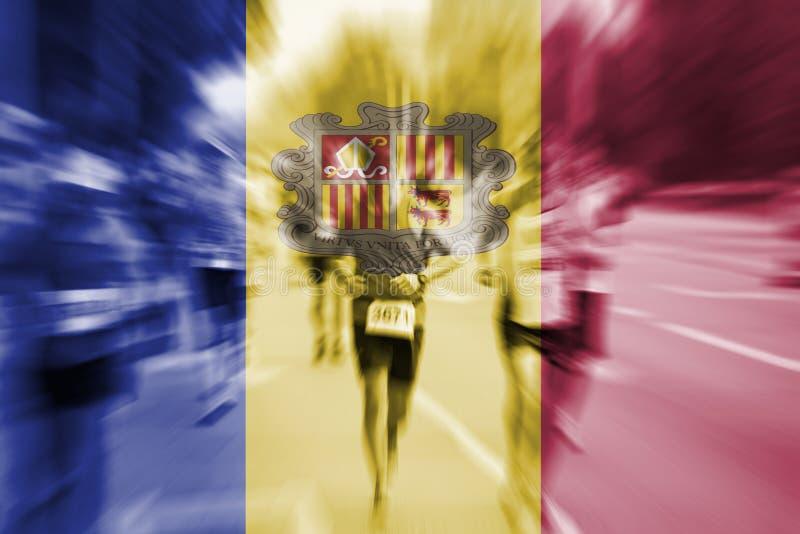 Falta de definición de movimiento del corredor de maratón con la mezcla de la bandera de Andorra fotos de archivo