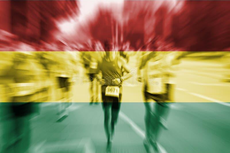 Falta de definición de movimiento del corredor de maratón con la mezcla de la bandera de Bolivia fotografía de archivo libre de regalías