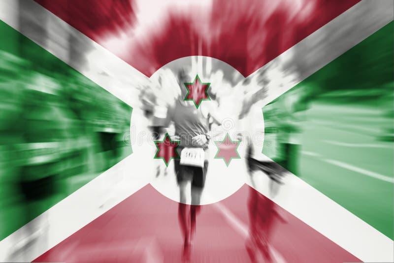 Falta de definición de movimiento del corredor de maratón con la mezcla de la bandera de Burundi libre illustration