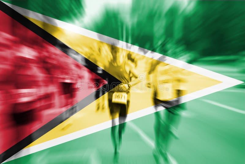 Falta de definición de movimiento del corredor de maratón con la mezcla de la bandera de Guyana libre illustration